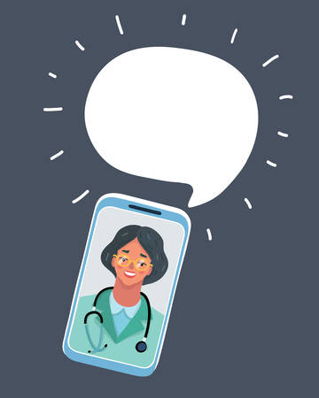 A vector illustration of woman doctor. Object on dark backround. Speech bubble above.
