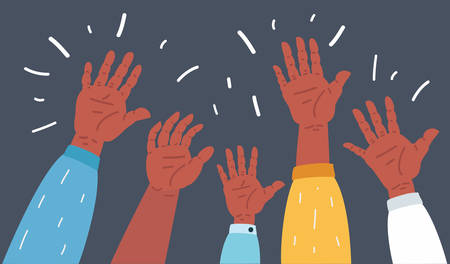 Vector cartoon illustration of Raised up human hands. Group is the crowd. Isolated on a dark background.