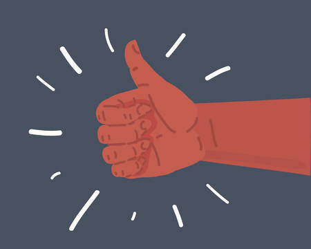 Vector cartoon illustration of approving hand. Thumbs up showing like isolated on dark.
