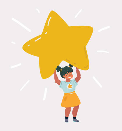 Vector cartoon illustration of a Kid Girl Smiling and Holding a Bright big Yellow Star
