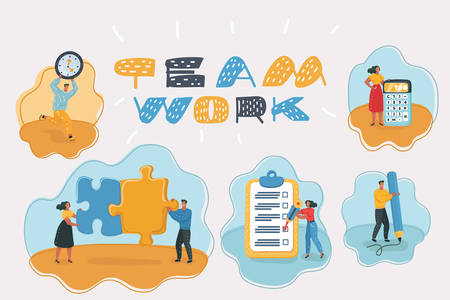 Vector cartoon illustration of Startup and Teamwork. Women and men with calculator, pencil, clock, checklist, puzzles.