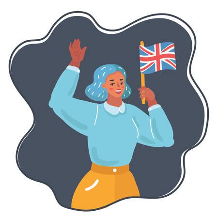 Vector cartoon illustration of woman waving the uk flag on dark background.