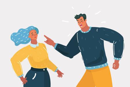 Vektorkarikaturillustration des wütenden Mannes, der argumentiert, der Frau die Schuld für das Problem zu geben, frustrierter Ehemann und Ehefrau, die sich über schlechte Ehebeziehungen streiten, unglückliches junges Familienkampfkonzept. Vektorgrafik