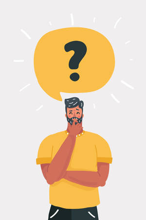 Vector cartoon illustration of Man is thinking. Question mark in speech bubble. Human character on white background. Иллюстрация