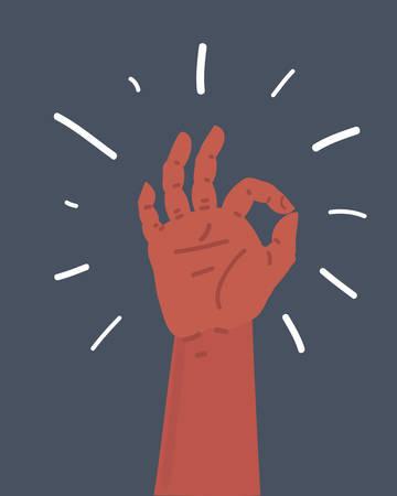 Vector cartoon illustration of Gesture okay, e-commerce and marketing, best choice sign on dark bakcground. Illustration