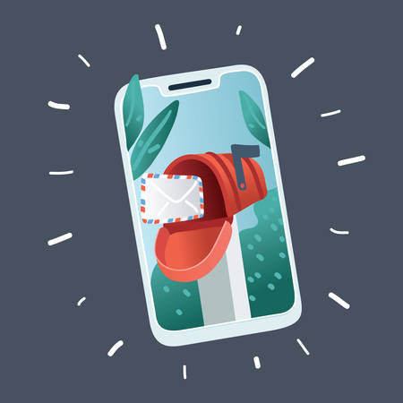 Vector illustration of email marketing and message notification sign. Smartphone on dark bacground. Иллюстрация
