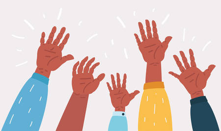 Vector cartoon illustration of Raised up hands. Teamwork, collaboration, voting, volunteering concert. Diversity of human hands raised. Charity, crowd, workforce, community concept. Çizim