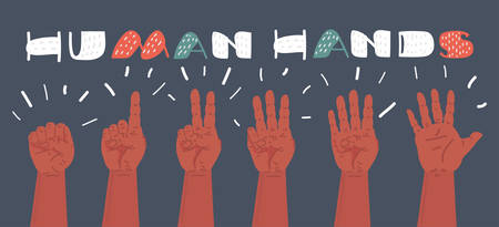 Vector cartoon illustration of human hands composing different gestures, showing various numbers. Count from one to five. Object on dark bakcground.