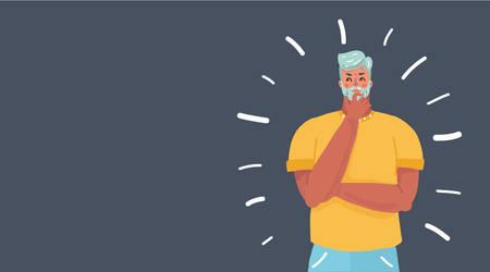 Illustration de dessin animé de vecteur de jeune homme d'affaires de pensée. Questions fréquemment posées. Bannière horizontale. Caractère humain sur fond sombre.