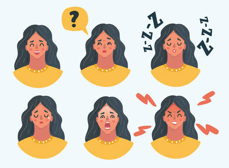 Vector cartoon illustration of Set of girl woman facial emotions. Different female emotions set. Woman emoji character with different expressions.