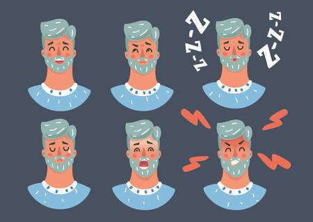 Illustrazione del fumetto di vettore dell'uomo bello del fumetto che esprime variazione di emozione diversa su sfondo scuro.