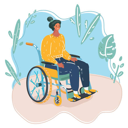 Vector cartoon illustration of Beautiful young woman in a wheelchair.
