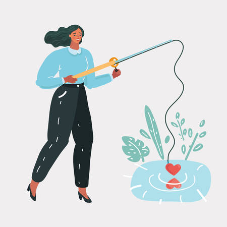 Vector cartoon illustration of Cute young happy woman girl with a fishing rod try to catch love. Funny concept. Lonly heart try to fing love.