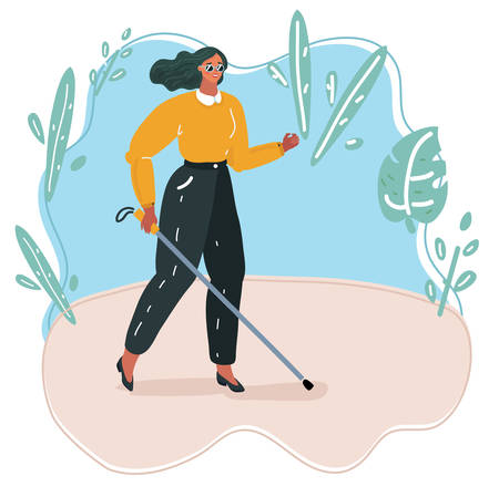 Vector cartoon illustration of Blind person walking with stick. Walk outside.