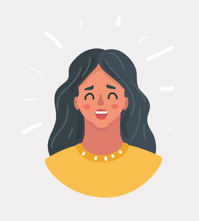 Vektorkarikaturillustration des glücklichen lachenden Gesichtes der Frau. Schönes Mädchenlächeln.