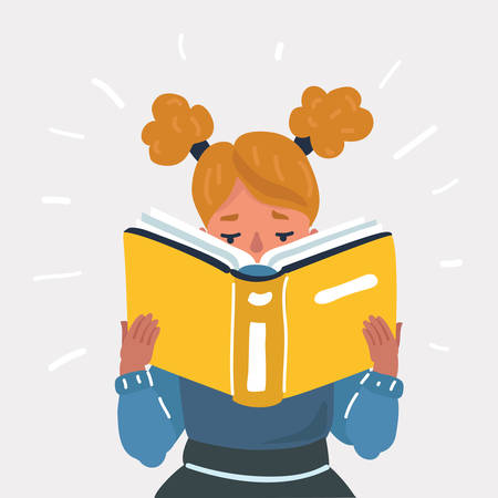 Vector cartoon illustration of Girl reading book. Human character on white backgorund.