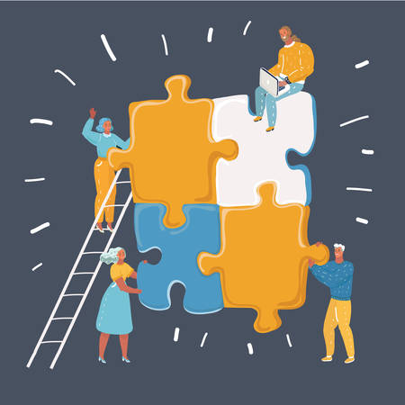 Vector cartoon illustration of Teamwork in process creating new project. Big color puzzle art work. Human charcters on dark background. Team together works.