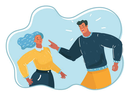 Vector cartoon illustration of people. Aggressive man yelling at woman, angry husband, psychological pressure, violence, unbalanced man. Illustration