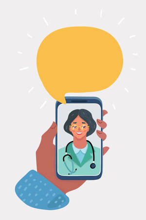 Vector cartoon illustration of Smiling female doctor on the phone screen. Medical internet consultation. Healthcare consulting web service. Hospital support online. Mobile doctor, call, ask concept