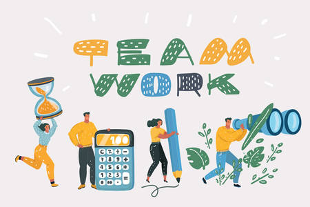 Vector cartoon illustration of Team on white backgroud. Characters, office workers or businessmen working. Tiny People with big calculator, binocular, pencil, hoursglasess.