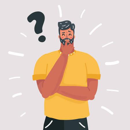 Illustrazione del fumetto di vettore dell'uomo che pensa, oh, domanda, espressione di dubbio, stile cartone animato. Carattere umano su sfondo bianco.