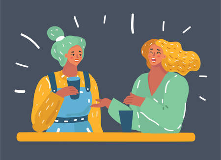 Vector cartoon illustration of Two women chatting, smiling and in caffee, enjoying a coffee