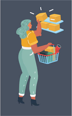 Vector cartoon illustration of beautiful woman with shopping basket in the shops.
