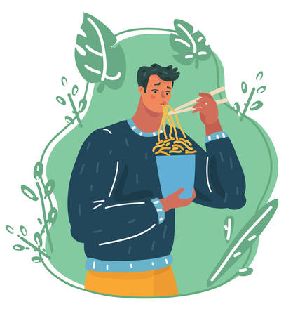 Vector cartoon illustration of A man eating hot and spicy noodle.