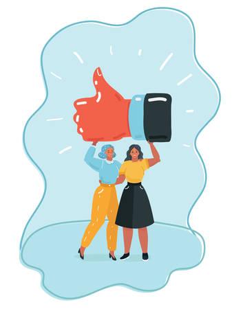 Ilustración de dibujos animados de vector de mujer joven feliz sosteniendo una hoja en blanco / vacía de papel blanco o tablero y gesticulando con los pulgares arriba signo. Ilustración de concepto de emoción humana y lenguaje corporal en estilo plano de dibujos animados de vector.