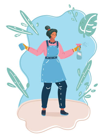 Vector cartoon illustration of woman holding in hands cleaning spray.