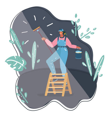 Vector cartoon illustration of Washing windows. Woman wiping glass with housework cleaning house or maid homework. Night cleaning service. Illustration
