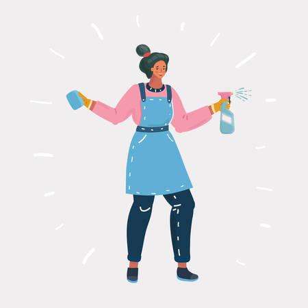 Illustration de dessin animé de vecteur de femme allant laver la fenêtre avec un spray de nettoyage dans ses mains. Nettoyant pour vitres sur fond blanc. Vecteurs