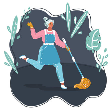 Vector cartoon funny illustration of Woman dancing with mopping and cleaning room. Fast night cleaning servise.