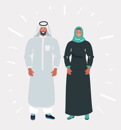 Vector cartoon illustration of Muslim couple in traditional dress on white background. Banque d'images - 123636037