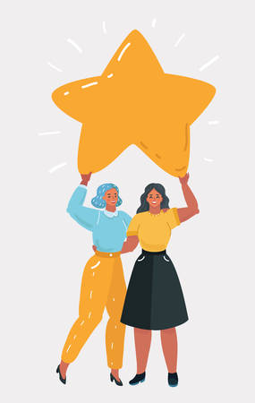 Vector cartoon illustration of two woman holding big star. Rating concept. Human character on white bakcground. Wish come through.