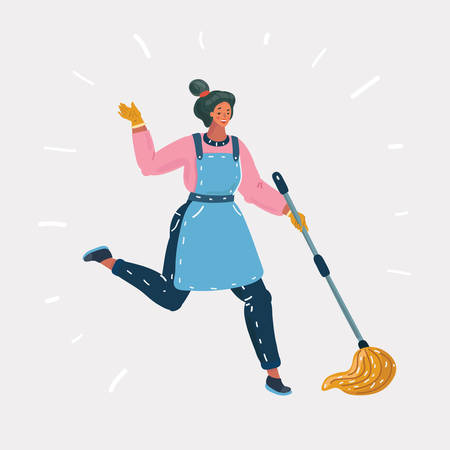 Ilustración de dibujos animados de vector de mujer limpieza de piso con trapeador escoba mojada. Chica inspirada haciendo tareas domésticas. Humanos sobre fondo blanco.