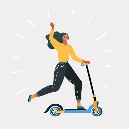 Cartoon vectorillustratie van vrouw snel rijden op kick scooter. Eco alternatief stadsvervoer. Menselijk karakter op witte achtergrond.