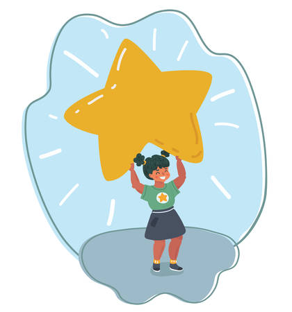 Vector cartoon illustration of little girl with big lights and stars. 向量圖像