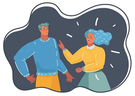 Ilustración de dibujos animados de vector de pareja deprimida marido y mujer en concepto dramático de pelea. La acusación de su esposa, divorcio.