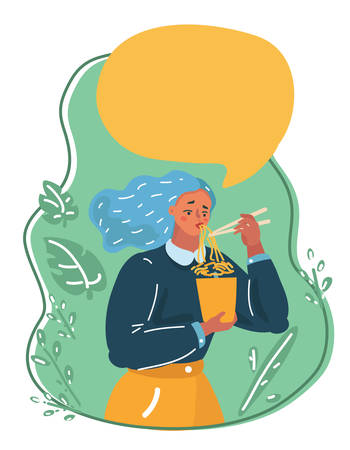 Ilustración de dibujos animados vector de una niña disfrutando de sus fideos ramen con palillos. Burbuja de diálogo sobre ella. Logos