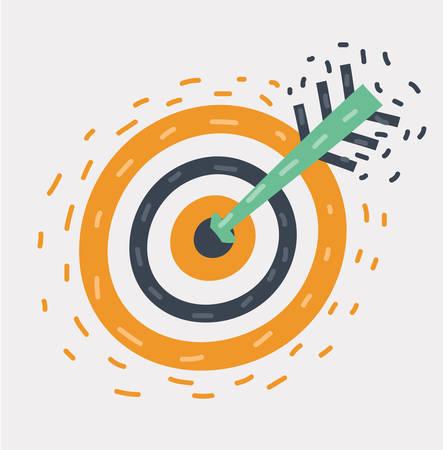 Illustrazione del fumetto di vettore del bersaglio di tiro con l'arco con frecce Archer Sport Game Competition su priorità bassa bianca.