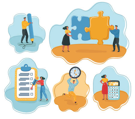 Vector cartoon illustration of Set of Start Up, Digital Marketing, Big Idea and Team Work. Women and men with calculator, pencil, binoculars, hourglass, white background.