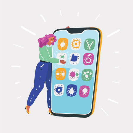 Vector illustration of Concept of online conversation, virtual life of young girl. Happy woman get hugging a big phone with both hands on white background. Иллюстрация