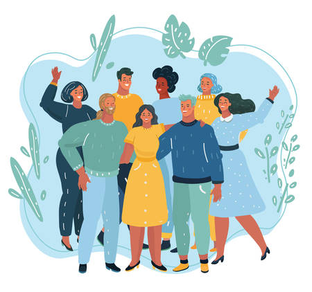 Vector illustration of Happy friendship day friend group of people hugging together for special event celebration. People standing together. Team, coworkers, friends or reletives. Иллюстрация