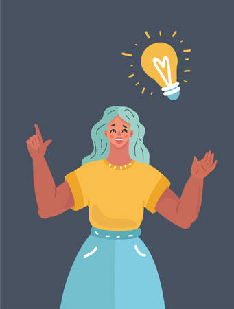 Vector illustration of woman with big bulb above her. Human character on dark background. Иллюстрация