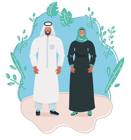 Vector illustration of Young Man and Woman in traditional Islamic clothing.
