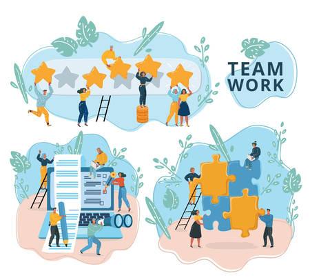 Ilustracja wektorowa kreatywnej pracy zespołowej w szablonie sieci web z malutkimi ludźmi i gigantycznym laptopem, układanką, oceną. Media społecznościowe i narzędzia sieciowe do promocji internetowej, reklamy. Zestaw nowoczesnych scen. Ilustracje wektorowe