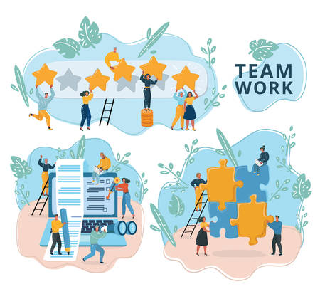 Vector illustration of Creative team work in web template with tiny people and giant Laptop, puzzle, rating. Social media and network tools for internet promotion, advertisement. Modern scenes set.