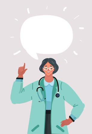 Vector illustration of Woman doctor with speech bubbles on blue background. Medical internet consultation. Healthcare consulting web service. Hospital support online. Computer doctor. Ask doctor. Vector flat illustration Ilustración de vector