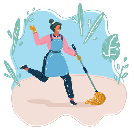 Vector cartoon illustration of young beautiful cleaning maid woman with mop dancing and smiling